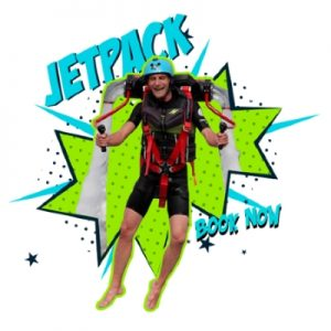 Client flying high with a hydro-jetpack